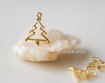 10pcs Christmas Tree Charms 12mm, Real Gold plated Brass, Lead Nickel Free(GB-117)