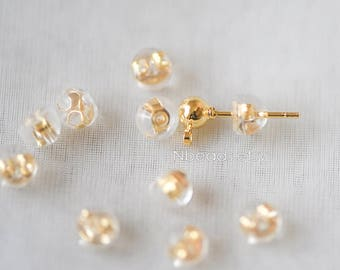 20pcs Gold plated Sterling Silver Ear Nuts, Earring Back Stoppers 5mm, Jewelry Findings Wholesale   (#GB-143)
