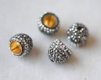 10pcs Rhinestone Pave Bead Caps 12mm, Crystal Micro Paved Tassel Caps, Hematite Cone End Beads (RB-053)