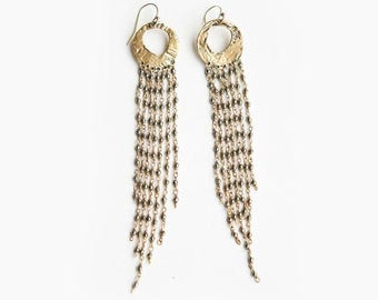 Long Duster Gemstone Earrings 14kt Gold Filled with Pyrite