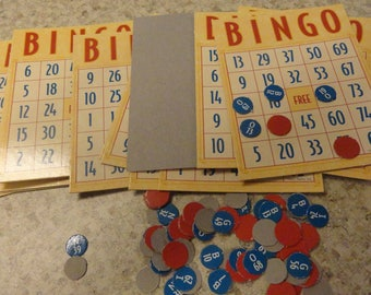 BINGO CARDS Red and Blue Games Supplies Scrapbooking Altered Arts Ephemera