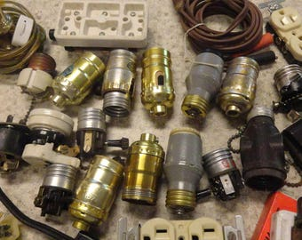 STEAMPUNK Vintage Lamp Parts Wiring Cords Altered Art Mixed Media 50 pcs