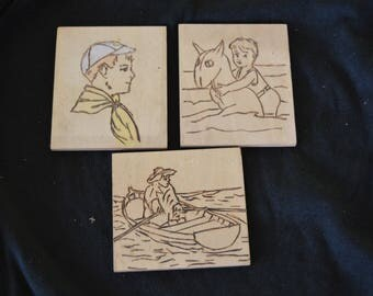 Vintage Pyrography Drawing or Etching Set of 3 on Wood Original Art