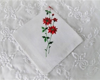 Vintage Christmas Handkerchief, Ladies Cotton Linen Holiday Hankie with Embroidered Poinsettias, ECS, FREE Shipping