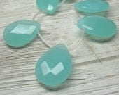 Glass Beads 30 X 22mm Big Milky Aqua Green Faceted Teardrop - 4 Pieces