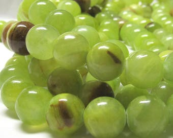 Jade Beads 12mm Natural Chartreuse Green Jade Smooth Round Beads  - 15 Pieces