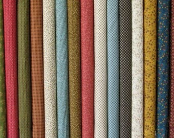 Fabric Bundle of Katie's Cupboard Collection by Kim Diehl, Chubby 16th Bundle, Fat 8th Bundle, 100% Cotton Quilt Fabric for Sale