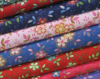 Weekly Special & Free Shipping! Happy Bundle of Eight Fat Quarters, 100% Cotton Quilt Fabric Bundle, Fat Quarter Bundle, Fabric for Sale