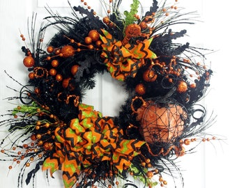 Halloween Wreath, Halloween Decoration, Black and Orange Wreath, Pumpkin Wreath, Front Door Wreath, Pumpkin Wreath, Wreath for Halloween