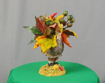 Mrs Thanksgiving Turkey Decoration, Fall Decoration, Turkey Centerpiece, Whimsical Turkey, Autumn Decor, Thanksgiving Centerpiece