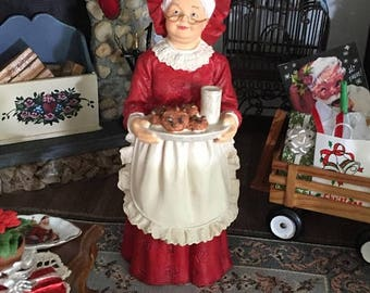 SALE Miniature Mrs Claus Figurine, Standing With Cookies, Dollhouse Miniature, 1:12 Scale, Christmas Decor, Shelf Sitter, Topper