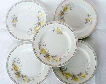 Limoges  5 Dessert  Plates Alrenfeldt Yellow Roses Gray Gold  France
