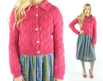 50s Pink Wool Cardigan Sweater Hand Cable Knit Button Up Vintage 1950s Medium M Pinup Rockabilly Dark Pink