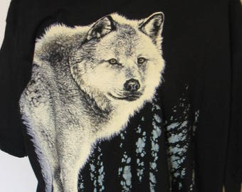 Vintage 1990s Artist Signed Gray Wolf T-Shirt, Gregg Murray, L, NWT by Harlequin