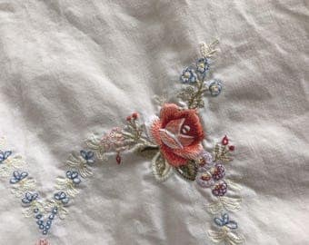 Vintage Shabby Square Embroidered Flower Floral Tablecloth