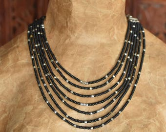 Multi Strand matte Black Seed Beads and Silver Bead Necklace