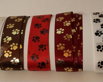 PAWS Printed Satin RIBBON Assortment Dog or Cat PET Paws 30 ft cut edge made in England for Crafts, Food Gift Wrap, Pet Party Favors, cards