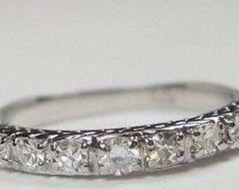 Antique Vintage Diamond White Gold Wedding Band | RGHET-191