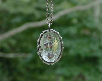 Pressed flower jewelry, fern, lavender, botanical necklace, ooak flower terrarium necklace, real plant jewelry, nature inspired