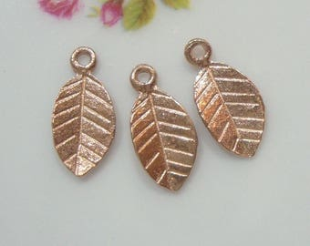 5, 10 pcs, 18k Rose Gold over 925 Sterling Silver Tiny Leaf Pendant Charm, Handmade Findings, Great for Kate's Earring,PC-0185