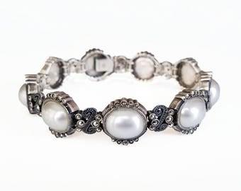 Judith Jack Sterling Marcasite Pearl Bracelet - Mabe Pearls, Art Deco Style, Sterling Bracelet, Vintage Bracelet, Womens Bracelet