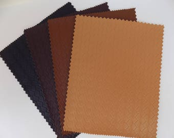 Faux Leather Fabric Remnants PVC 4 Pieces for Crafting Sewing Assorted Colors Braided Textured Pattern