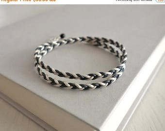 Summer Sale Braided leather bracelet leather wrap bracelet grey white cords leather bracelet  for men for women