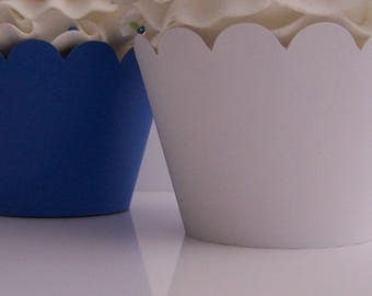 12 ROYAL BLUE and WHITE Cupcake Wrappers....Fully Assembled...Graduation Party, Wedding, Bridal Shower