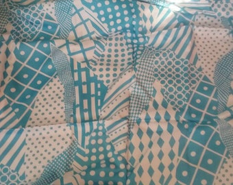 Baby Blue Abstract Silky Vintage Fabric Yardage