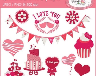 65%OFF SALE Valentine clipart, Valentine's Day clipart, birthday clipart, baby girl clipart, celebration clipart. DIY Valentine clipart, C58