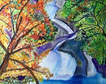 Giclee Print From Original Pastel-Trees and Waterfall-Neo Impressionism-Abstract Landscape