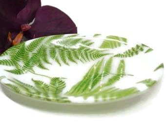 Botonical Soap Dish, Fused Glass, Fern Soap Dish, Spoon Rest, Sponge Holder, Trinket Dish, Green and White, Gardeners Gift