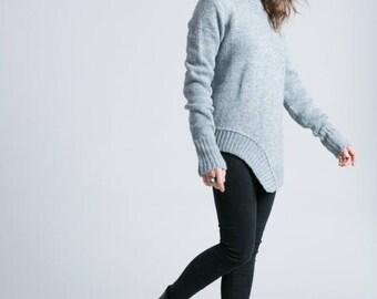 50% SALE Black Sweater / Asymmetric Blouse / Oversized Cardigan / Black Jumper / High Low Sweater / marcellamoda k - MB789