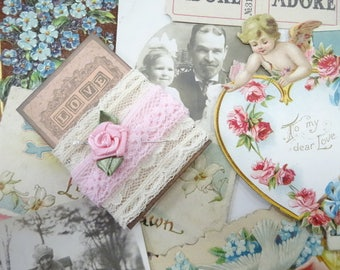 Daddy's Girls Antique Victorian Cards Embossed Die Cut Floral Old Estate Paper Ephemera Lot Love Token Keepsake Project Supply Scrap