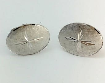 Vintage Silver Metal Oval Shaped Cuff Links Signed LaMode Sterling