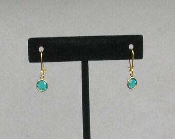 December Birthstone- Blue Zircon Drop GP Earrings
