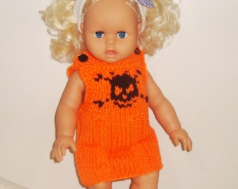 18 Inch Doll Clothes Hand Knit Doll Dress in Orange with black skull knit, Brithdays, Easter gifts for girls gift, 18inch doll clothes