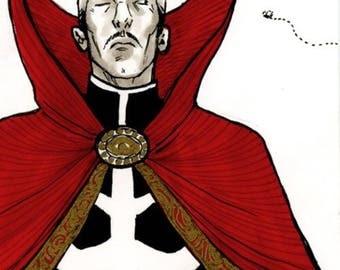 Doctor Strange sketchcard, original art by Aud Koch.