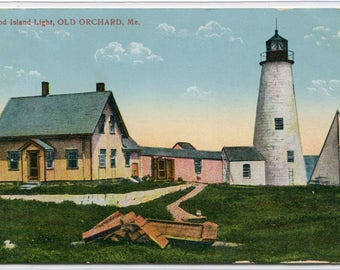 Wood Island Lighthouse Old Orchard Maine 1910c postcard