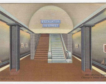 Subway Train Station Escalator Platform Chicago Illinois linen postcard