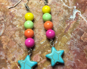 Rainbow sherbet pastel rainbow star earrings