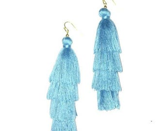 Turquoise Silk Tiered Tassels stacked drop earring