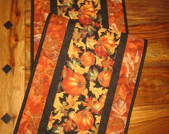 "Fall Table Runner, Pumpkins Leaves Gourds, Fall Decor Autumn Table Runner, Thanksgiving Runner, Quilted, 13 x 47"" Handmade"