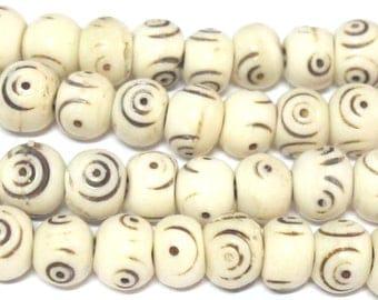 20 Beads - Cream color Tibetan eye prayer mala bone beads - HB055A