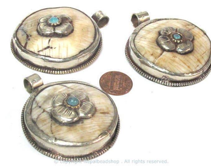 1 pendant - Ethnic Tibetan silver naga conch shell  pendant with phoenix eagle bird carving on reverse side  - PM587B