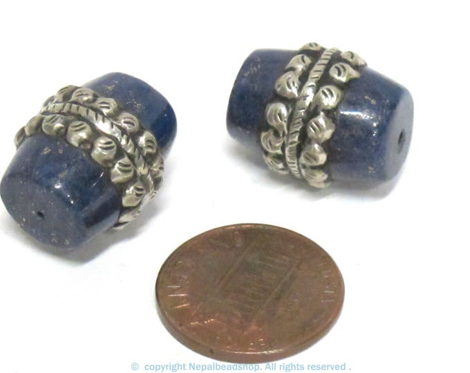 2 Beads - Tibetan silver color encased  lapis lazuli gemstone  bead from Nepal  - BD453Bx