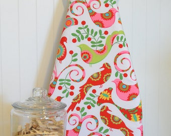 RESERVED LISTING - Designer Ironing Board Cover - Michael Miller's Pretty Bird in Santa Red