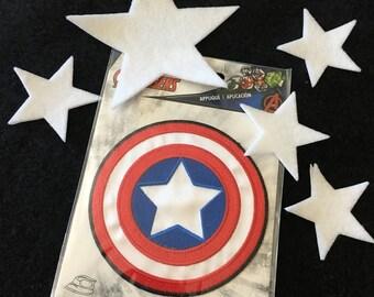 Captain America Iron On Transfer-Felt Iron On Stars-Super Hero Costume Appliques-Fabric Appliques-Halloween Costume Embellishments