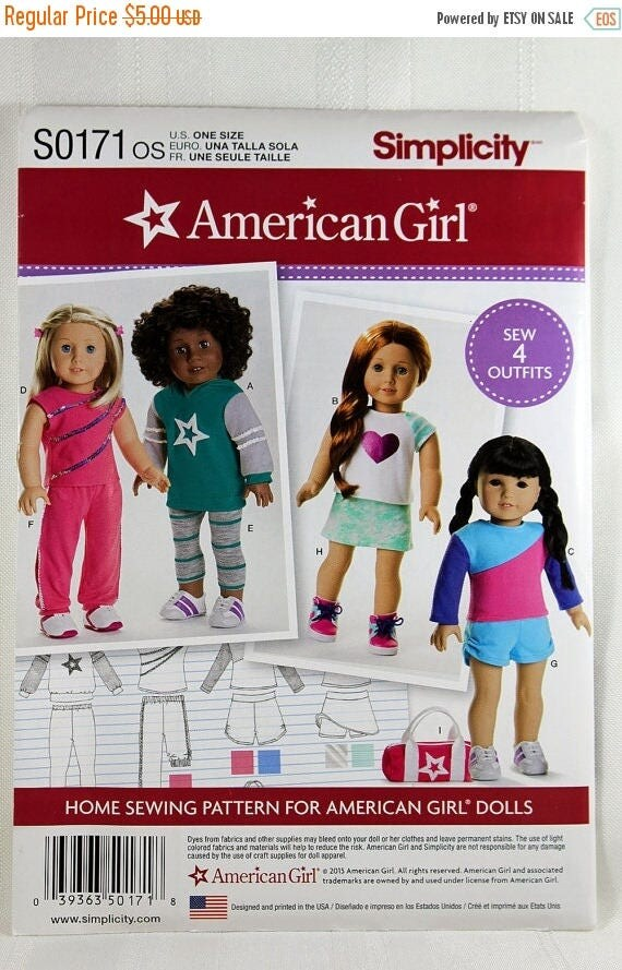 on sale simplicity s0171 american girl doll clothes sewing. Black Bedroom Furniture Sets. Home Design Ideas