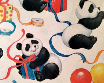2 Sheets PANDA Bear Balloons Happy Birthday Wrapping Paper Vintage Paper Gift Wrap Retro Unisex Two Sheets Sealed New Made in USA